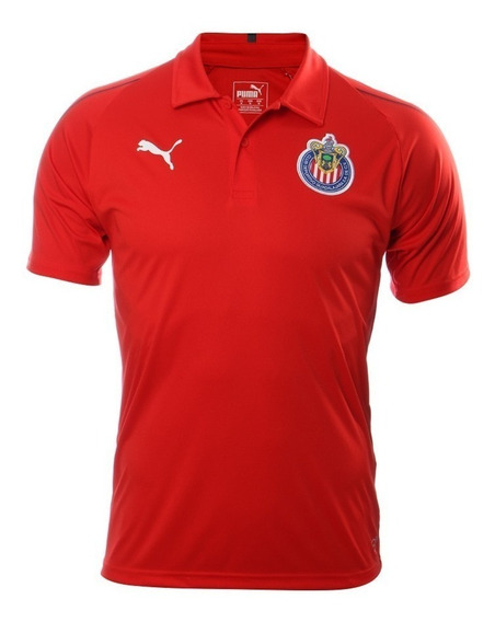 Playera Hombre Chivas 18-19 Roja Polo Leisure Original Puma