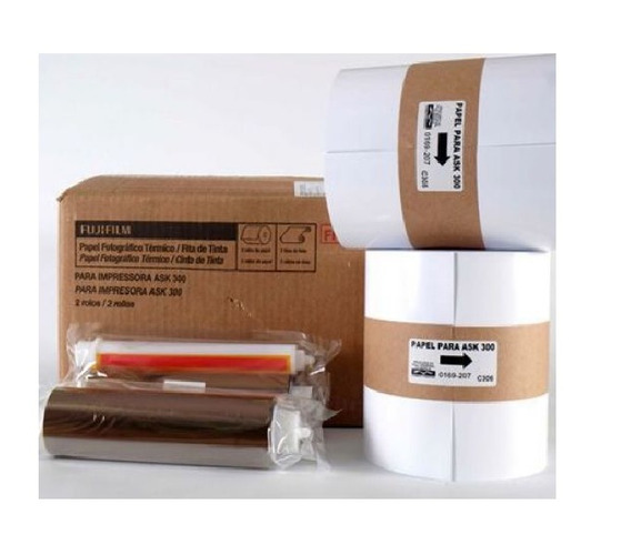 Papel + Ribbon 10x15 Para Impressora Fuji Ask 300 2kit