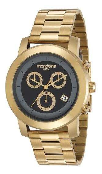 Relógio Mondaine Dourado 99227gpmvda1 Cronógrafo Calendário