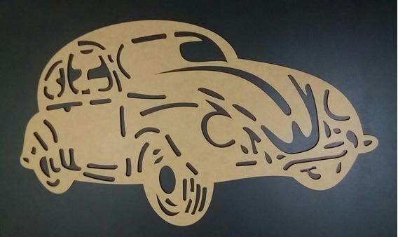 Carro Fusca Em Mdf Aplique Parede Escultura S/pintura 60cm