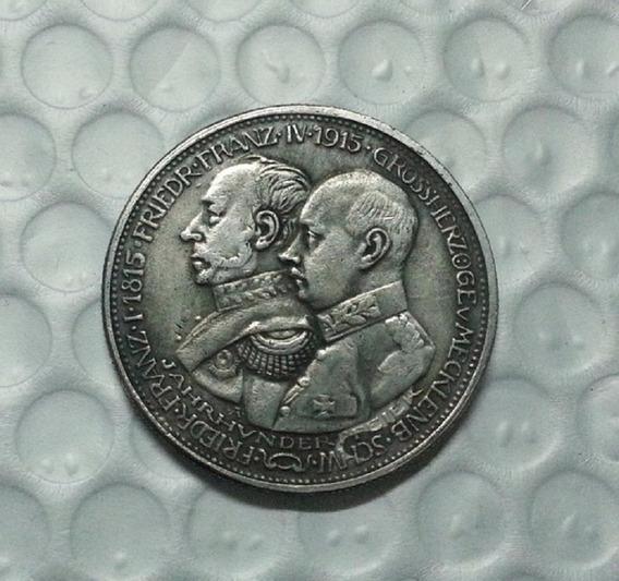 Moeda 5 Marks 1915 Alemanha Friedr Franz Cópia Rara Coleção