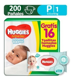 Pañales Huggies Active Sec Etapa 1/ Talla P 200 Pañales
