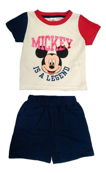 Conjunto Algodón Playera Y Short Estampado Mickey