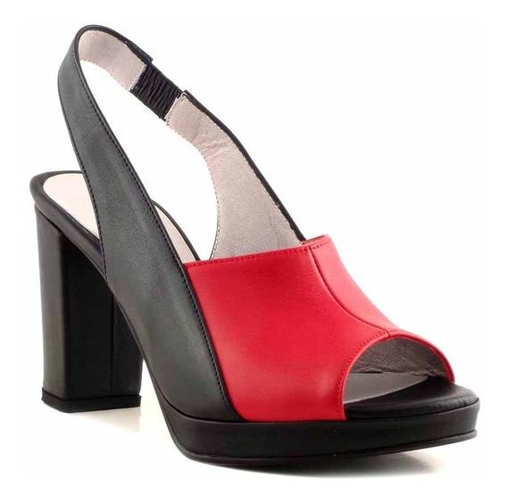 Zapato Sandalia Mujer Cuero Briganti Vestir Taco Mcsd04529