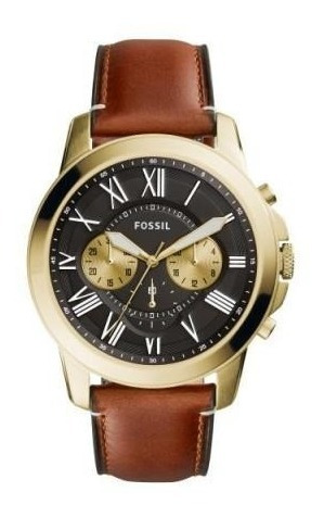 Relógio Masculino Fossil Fs5297/2pn 44mm Couro Marrom