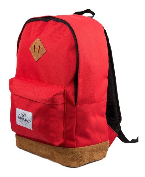 Mochila Queensland Porta Notebook Base Simil Gamuza Roja