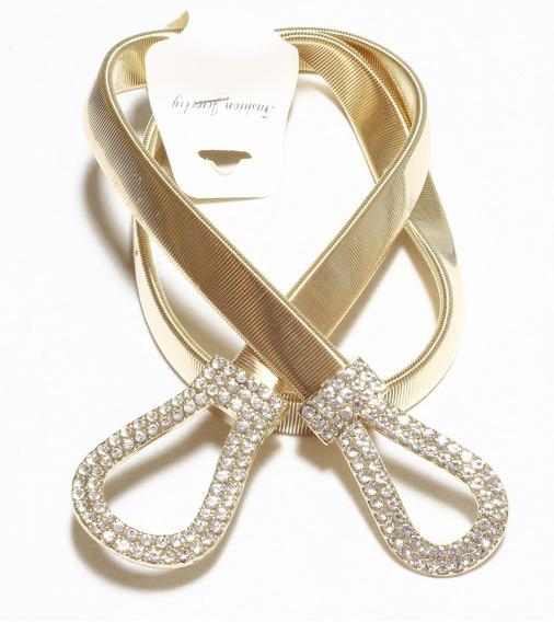 Cinto Feminino Elástico De Metal Dourado Com Strass