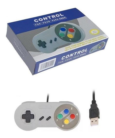 Controle Usb Super Nintendo Snes Joystick Colorido S Famicom