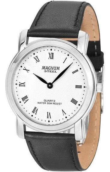 Relógio Masculino Magnum Pulseira Couro Slim Preto Ma20367q