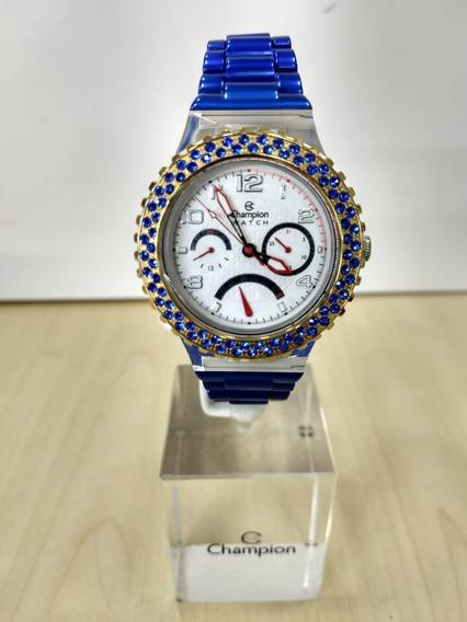 Relógio Champion Collors Troca Pulseiras Azul N.f. Garantia