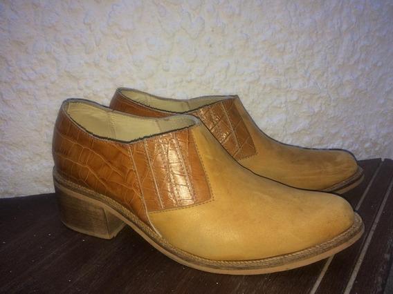 Zapatos Cuero Legítimo Taller 40, Color Ocre, Marrón Claro