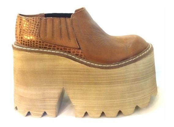 Zapato Cuero Con Plataforma Goma Eva 3200. Marca Angkor
