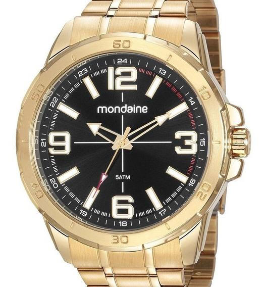 Relógio Mondaine Masculino Dourado Grande Barato Banhado