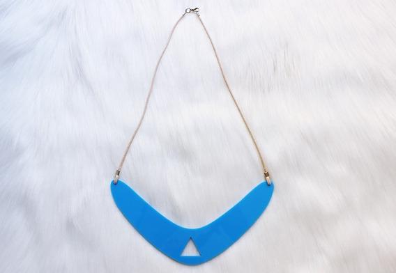 Maxi Colar Feminino Geometrico Acrilico Azul Exclusivo