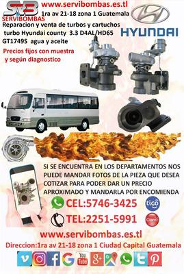 Turbo Nuevos Hyundai County 3.3 D4al En Guatemala