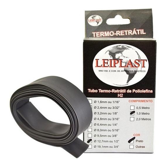 Espaguete Termo Retrátil 12,7mm 2 Metros Preto - Leiplast
