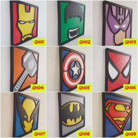 5 Quadros 3d Alto Relevo Super Heróis -promoção Frete Grátis