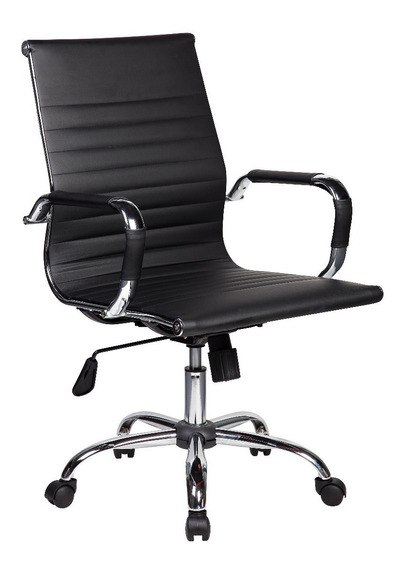 Cadeira Escritório Giratória Diretor Charles Eames Preta
