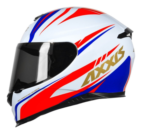 Capacete Axxis Hybrid White Blue Red