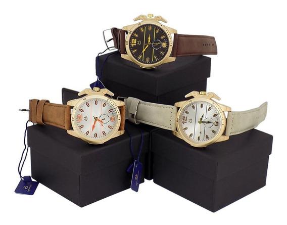Kit 3 Relógios Orizom Spaceman Couro Dourado Marrom Caixa