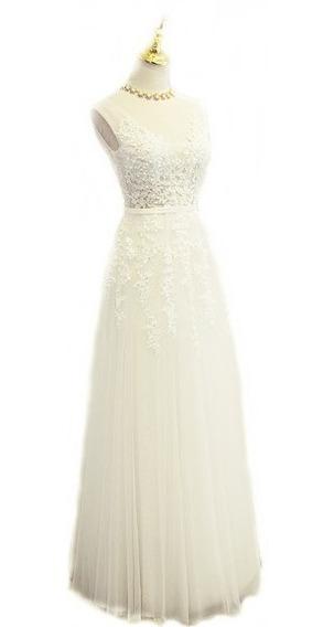 Vestido De Noiva Longo Renda Pérola Princesa