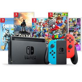 Nintendo Switch 32gb Cinza / Neon Bivolt + 2 Jogos