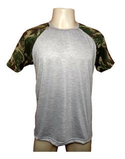 30 Camiseta Raglan Camuflada Poliester P/ Sublimação Atacado