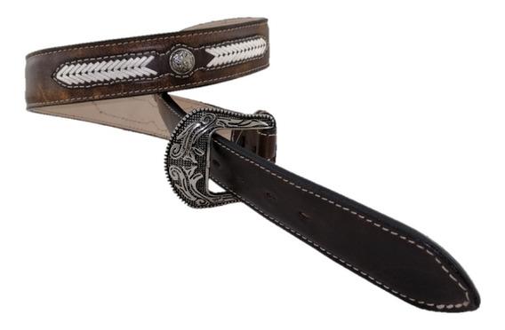 Cinturón De Hombre Establo Color Miel Suavel Hebilla Metal