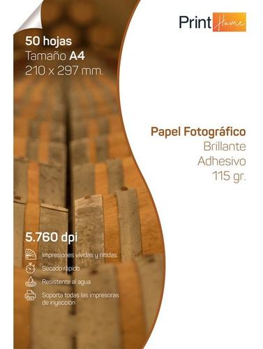 Imagen 1 de 6 de Papel Fotográfico Adhesivo Glossy 115gr A4 X 50 Hojas