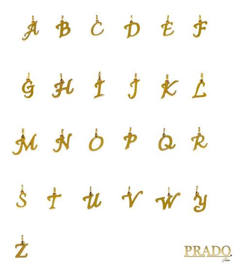 Pingente Letra Inicial Nome Em Ouro 18k Diversas Letras