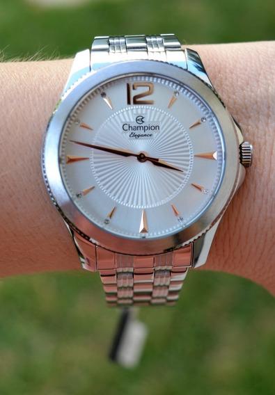 Relógio Champion Feminino Prateado Cn25672q Grande Original