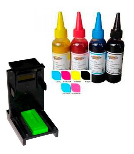 Kit Para Recarga De Cartuchos Hp 100ml Por Color + Snap/fill