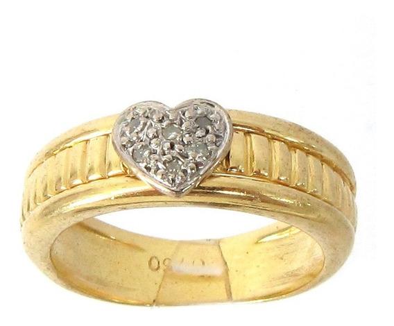 6120 Rojoias Anel Coração De Ouro 18k Legítimo