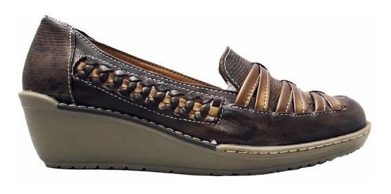 Mocasín Cuero Mujer Combinado Art 9005. Marca Claris Shoes