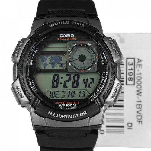 Relógio Casio Ae-1000w-1bvd Caixa  Preta E Cinza Prova Dágua