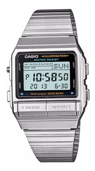 Relógio Casio Vintage Digital Data Bank Db-380 1df Prata