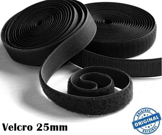 Fecho Velcro De Contato 25mm 2,5cm Macho E Femea Preto Pro