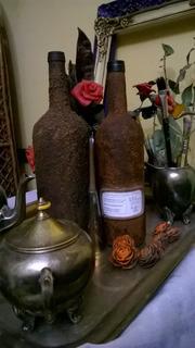 Botellas Decoradas Con Pintura Y Porcelana Fria