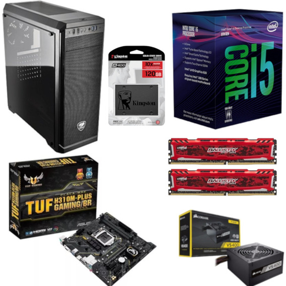 Pc Cougar Intel I5 8400 H310m Plus Bl 16gb Vs400 Ssd 120gb