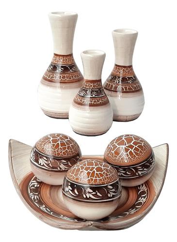 Imagem 1 de 1 de Jogo Completo Vasos Ceramica Arte Moderna Centro Mesa Prato+