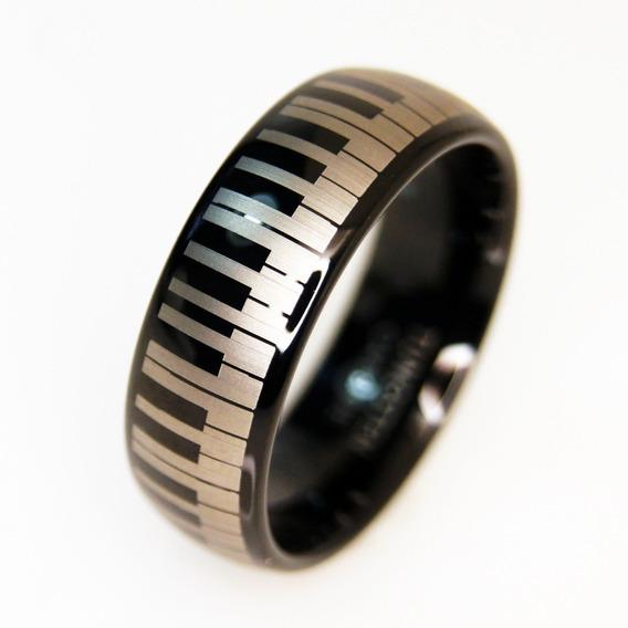 Anillo De Tungsteno Piano Keys Grabado A Laser