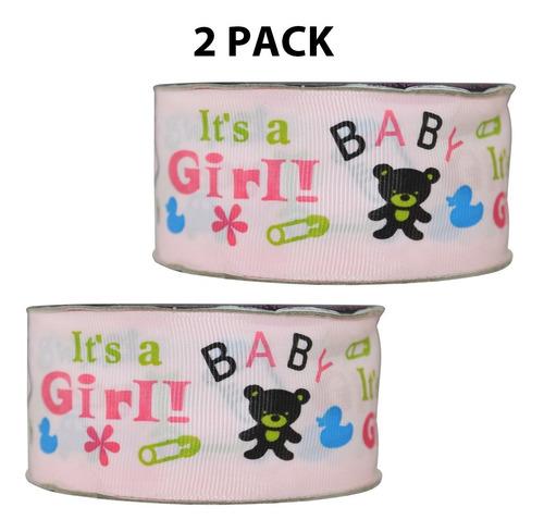 Imagen 1 de 3 de Listón Popotillo Estampado Baby Shower,2 Piezas,014-1 1/2p