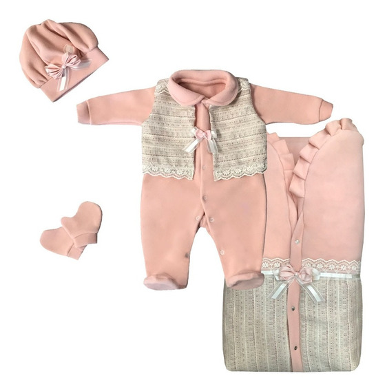 Saída Maternidade Menina Rosa Inverno De Plush