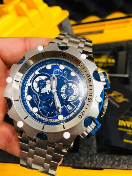 Relogio Invicta Venom Lançamento Prata E Azul + Caixa