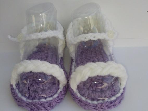 Huaraches Crochet , Tejido A Mano, Color Morado Con Blanco.