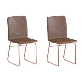 Conjunto Com 6 Cadeiras Brigatto Lana Rosé Gold E Marrom