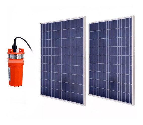 Kit Bomba De Agua Sumergible 12v Dc + 2 Paneles Solares 100w