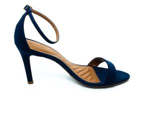 Sandália Spatz Salto Alto Fino Azul Marinho