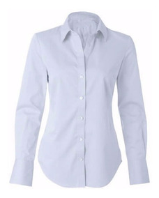 Camisete Camisa Branca Social Feminina Manga Longa