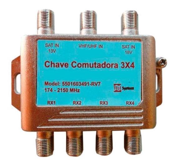 Chave 3x4 Switch Combinador De Sinal Satelite Com Digital